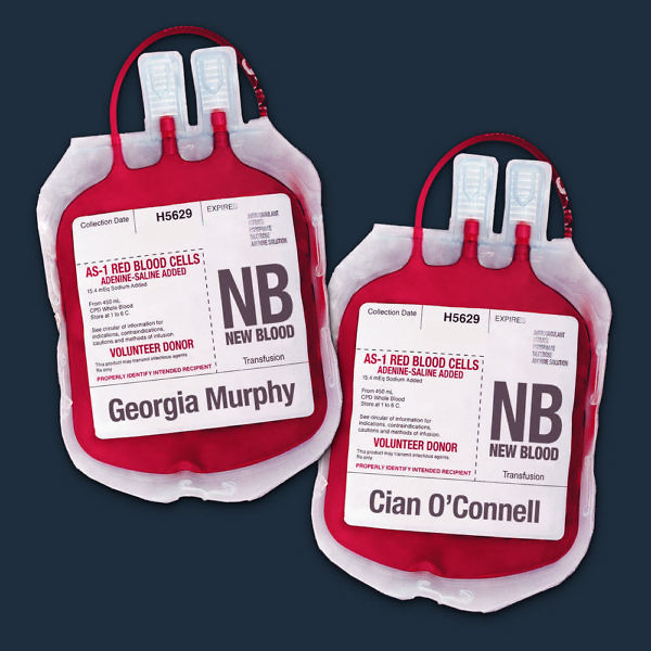 Blood bags with name labels reading Cian O'Connell and Georgia Murphy